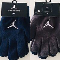 Nike Air Jordan Gloves Youth Boys Girls Blue & Grey Glove Set 2 Pairs O/S NEW