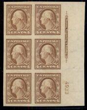 US #346, 4¢ orange brown, Plate No. Imprint block of 6, og, LH, XF