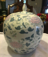 "Vintage Chinese  Porcelain Ginger Jar Vase Pink Flowers White & Green 10"" T 9""w"