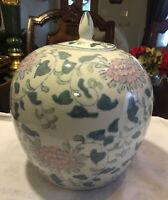 "Vintage Chinese  Porcelain Ginger Jar Vase Pink Flowers White & Green 10"" T 9""w"