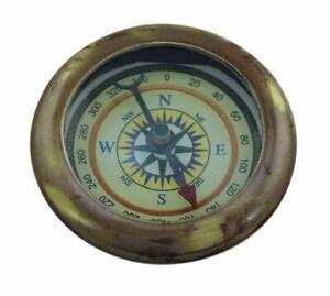 Kompass maritim  Ø: 4,5 cm Höhe 1 cm Messing antik