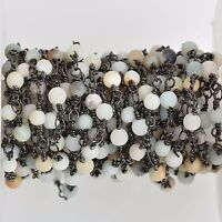 3ft Gemstone Crystal Rosary Chain 4mm Picture Jasper cube fch0805a bronze