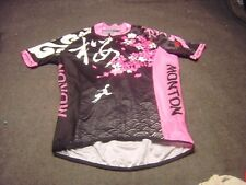 MONTON Rabbit Flowers Themed Pink Black White Short Sleeve Cyclist Jersey Size L