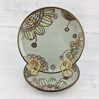 "Threshold VERMILLION Stoneware Geometric Floral Gray 8 3/8"" Salad Plates Set 2"