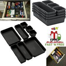 Storage Tray Basket Set Organizer Drawer Junk Bins Stationery Makeup Kitchen