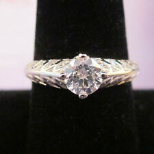 Modern STERLING SILVER White Gold CZ Italian Designed Engagement Band Ring Sz 8