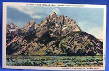 Vintage Original Grand Teton National Park Linen Postcard
