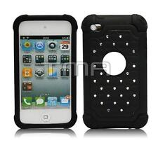 Fits iPod Touch 4th Gen Case Rhinestone Bling Rugged Shockproof Cover - Black