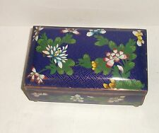 Chinese Cloisonne Royal Blue Enamel Floral Large Trunk Box