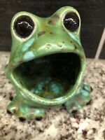 Vintage Frog Sponge Holder Blue Green Speckled Mid Century Retro Kitchen Mod