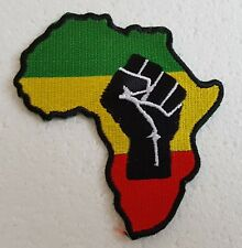 AFRICA MAP PATCH Rasta Black Power Raised Fist Cloth Badge/Emblem Rastafarian