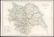 1847 Original Antique Map YORKSHIRE Coach Rail & Roads by Chapman & Hall