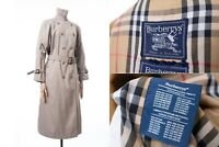 Women's Burberry Trench Coat Nova Check Plaid Vintage Jacket Beige Size 10 Long