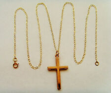9ct Gold Cross & Chain Simple Plain Design Hallmarked