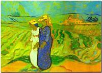 """Vincent Van Gogh *FRAMED* CANVAS ART women crossing fields 24x16"""""""