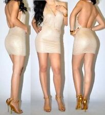 NWT Bebe beige nude crystal stud halter sexy mini deep v neck top dress XS 0 2