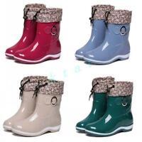 Ladies Rain Boots Warm Pull On Waterproof Womens Snow Block Heel Buckles Shoes