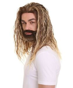 Brown Curly Wave Wig for Cosplay Justice League Aquaman Wig & Beard Set HM-503