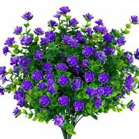 4pcs Artificial Flowers Fake Plant Outdoor Faux Floral Greenery Shrubs Purple