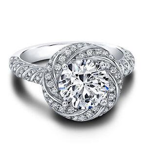 Round Cut 1.50 Carat Diamond Bridal Ring Set Solid 14K White Gold Size M N O P Q