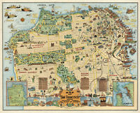 Early Whimsical Map of San Francisco California Poster Print Wall Decor Vintage