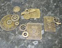Antique Bronze Steampunk Clock Gears Cogs Pendant Charms