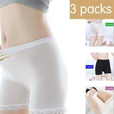 Women Sexy Casual Seamless Underwear Lace Silk Safety Pants New 3 Pcs