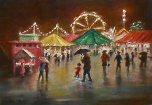 Carnival Lights 5x7 original oil painting, Celene Farris Maine. Night circus