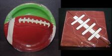 """8 Football Party Plates 9"""" and 20 Football Napkins Luncheon Size 6.5"""" Lot Set"""
