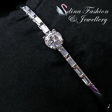 18K White Gold Filled Simulated Diamond 2.0 Carat Channel-Set Baguette Bangle