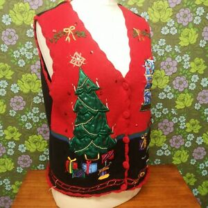 Vintage Red Knitted Ugly Christmas TREE Presents Pullover Tank Top (jumper) SzXL