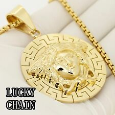 "30""Round Box Chain/66g Set56 Stainless Steel Gold Pendant"