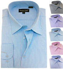 Men's Striped Easy Care Cotton Shirt Classic collar Formal Casual Long sleeve