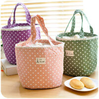 Round Tote Thermal Insulated Lunch Box Container Lunch Cooler Bag Bento Pouch