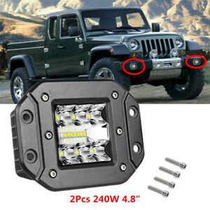 2Pcs Offroad Flush Mount LED Pods Work Light 240W 4WD SUV Bumper Reverse Flood