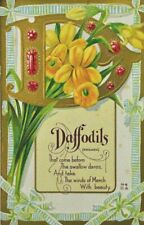 Letter D Daffodils Flowers Embossed 1914 Postcard Island Heights NJ D-1