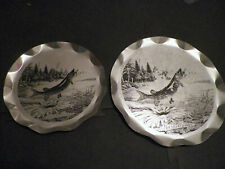 2 Muskellunge Metal Serving Plates Stylemaster Tray-Plaques Muskie Musky