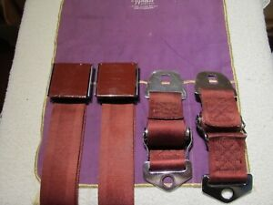 VINTAGE USED ORIGINAL 1964 PONTIAC FRONT RED SEAT BELTS IRVING AIR CHUTE FOR GTO