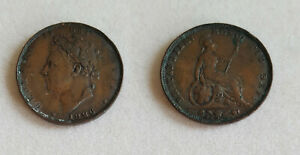 1826 1 Penny Great Britain copper world coin UK seated one cent GB England