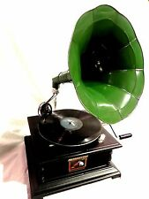 ANTIQUE GRAMOPHONE PHONOGRAPH GREEN COLOR STEEL HORN HIS  MASTER'S VOICE LOGO