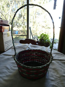 Basket - Red, Green & White with handle