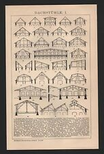 Lithografie 1901: DACHSTÜHLE. I/II. Holz Handwerk Dachstuhl Schiefer Fetten