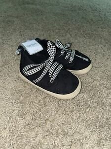 Carters Baby Girls 12-18 Month Shoes Black Faux Laces NWT