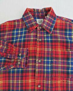 Vtg 80's GAP Red Plaid Check Flannel Button Front 100% Cotton Shirt Boy Size L