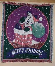 Disney Mickey Mouse Santa Cotton Blanket / Wall Hanging 60 X 50  Happy Holidays!
