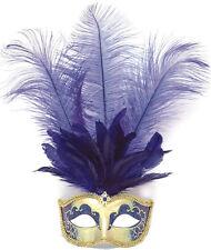 Venezia Occhi Maschera oro con piume blu NUOVO-CARNEVALE MASCHERA VISO