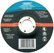 Draper 31381 115 x 6 x 22.2mm Bore Depressed Centre Metal Grinding Disc (PVR)