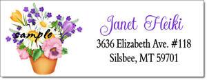 SPRING TIME FLOWERS DESIGN #113 - RETURN ADDRESS LABELS -GLOSSY MATTE
