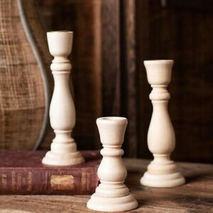 Wooden Candlesticks Holders Retro Unpainted Wood Craft Candle Holders Decoration