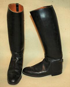 English Riding Dressage Tall Boots Mens 8.5 Womens 10.5 Black Leather Slim Leg